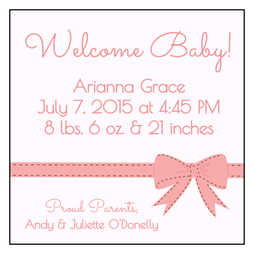 Proud Parents Birth Announcement Label
