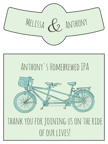 Tandem Bike Wedding Beer Bottle Label