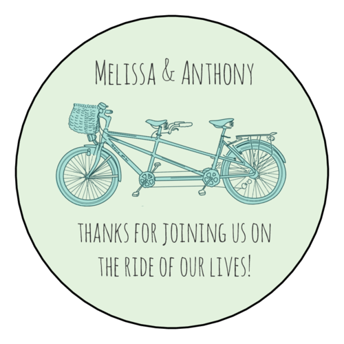 Tandem Bike Wedding Label