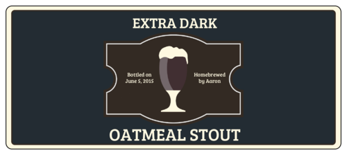 Oatmeal Stout Full Wrap Beer Bottle Label