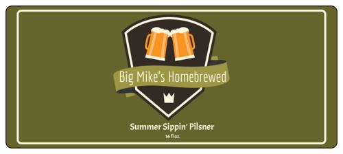 Summer Sippin' Pilsner Full Wrap Beer Bottle Label