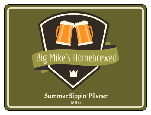Summer Sippin' Pilsner Half Wrap Beer Bottle Label
