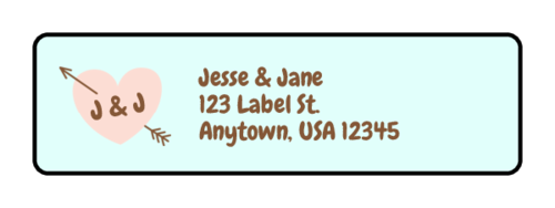 Heart With Arrow Wedding Address Label