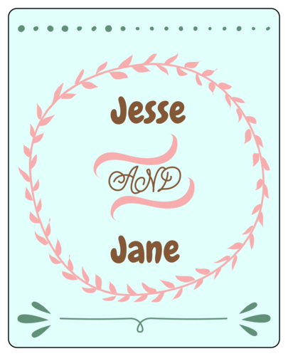 Cute Vine Wreath Wedding Wine Bottle Label