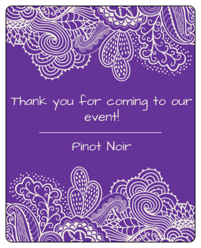 Paisley Event Favor Wine Bottle Label