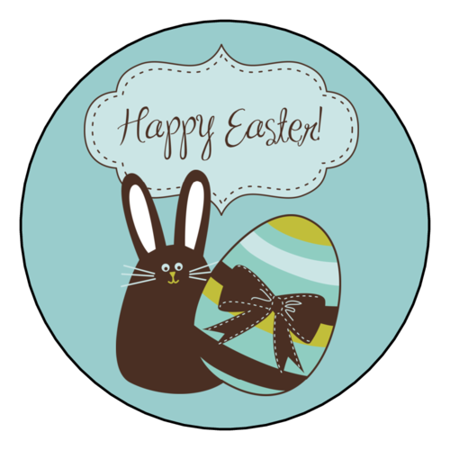 Easter Bunny & Easter Egg Round Label