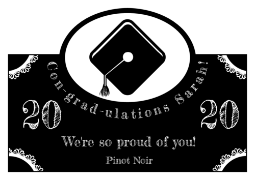 Arched Graduation Cap Wine Bottle Label