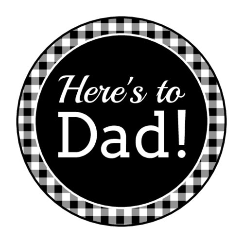 """Here's To Dad"" Checkered Father's Day Label"