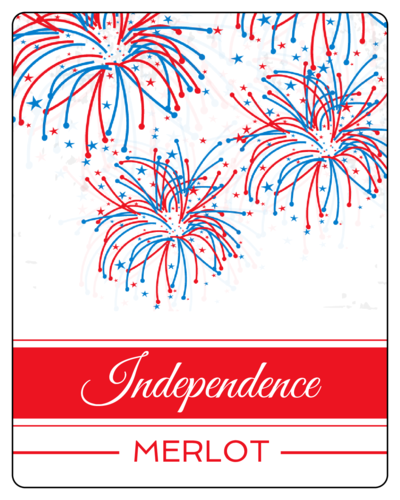 Fourth of July Fireworks Wine Bottle Label