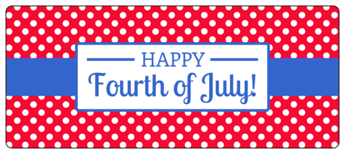 Polka Dot Fourth of July Water Bottle Label