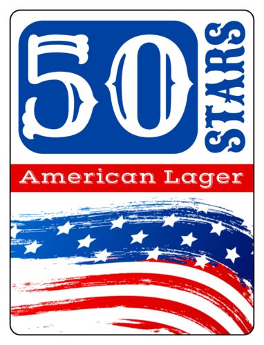 50 Stars Fourth of July Beer Bottle Label