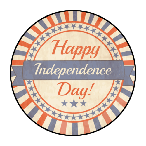 """Happy Independence Day"" Label"