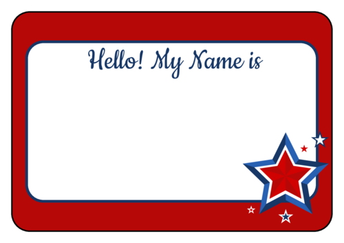 Fourth of July Name Tag Label