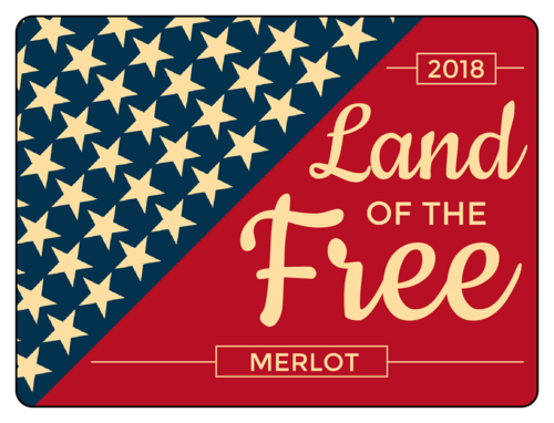 """Land of the Free"" Fourth of July Wine Bottle Label"