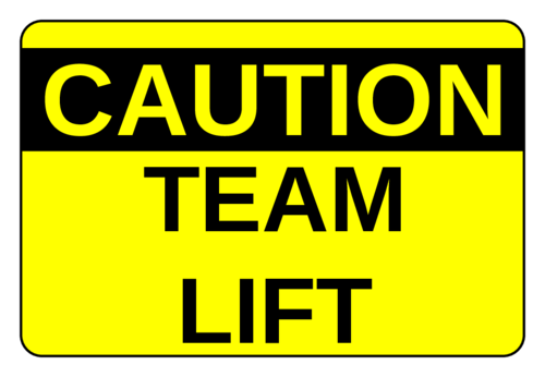 Caustion Team Lift Label