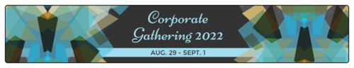 Blue Corporate Gathering Water Bottle Label