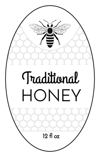 Honeycomb & Bee Honey Jar Label