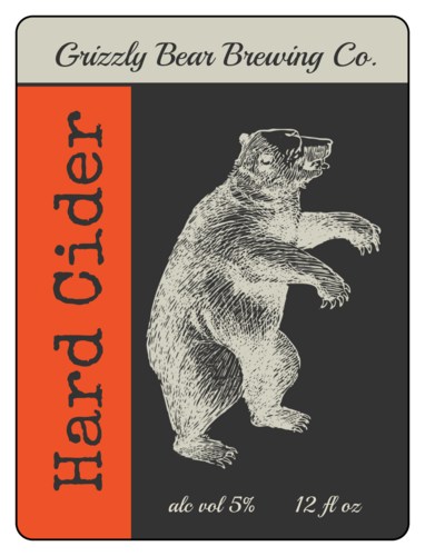 Grizzly Bear Hard Cider Label