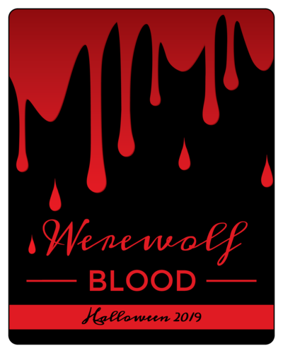 """Werewolf Blood"" Halloween Wine Bottle Label"