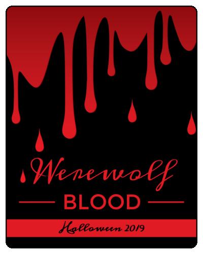 """""""Werewolf Blood"""" Halloween Wine Bottle Label"""