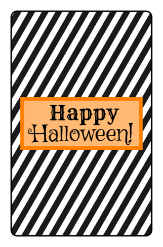 Striped Halloween Chocolate Mini Candy Bar Label