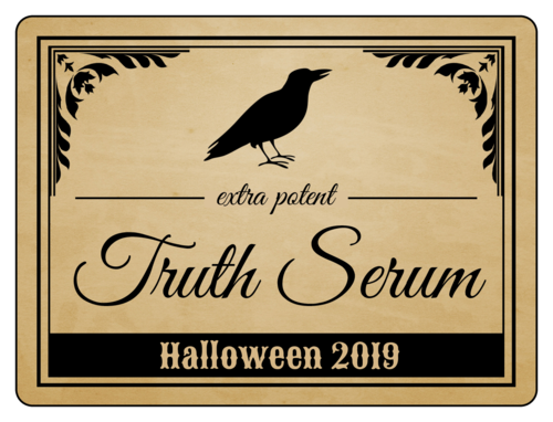 """Truth Serum"" Halloween Wine Bottle Label"