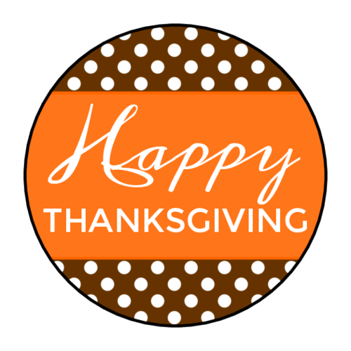 """Happy Thanksgiving"" Polka Dot Label"