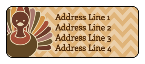 Chevron Thanksgiving Turkey Address Label