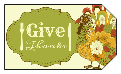 """Give Thanks"" Thanksgiving Gift Tag"
