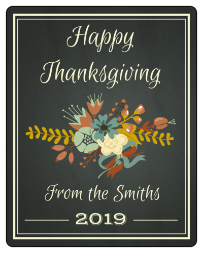 Floral Chalkboard Thanksgiving Wine Bottle Label