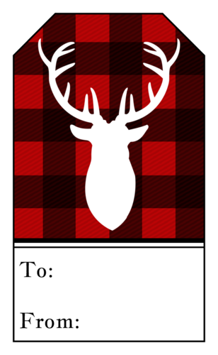 Plaid Stag Christmas Gift Tag