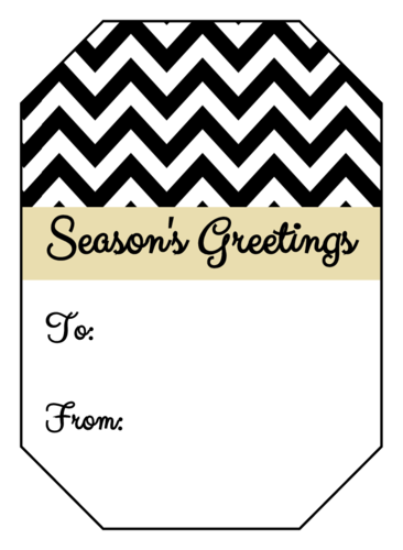 Chevron Season's Greetings Gift Tag