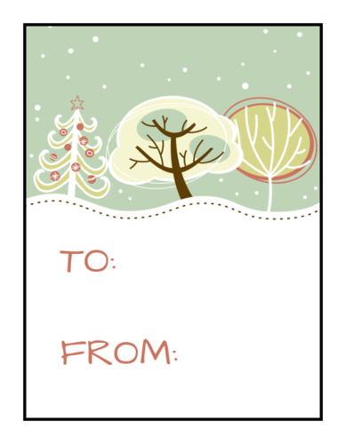 Snowy Trees Christmas Gift Tag