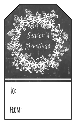 """Season's Greetings"" Chalkboard Wreath Gift Tag"