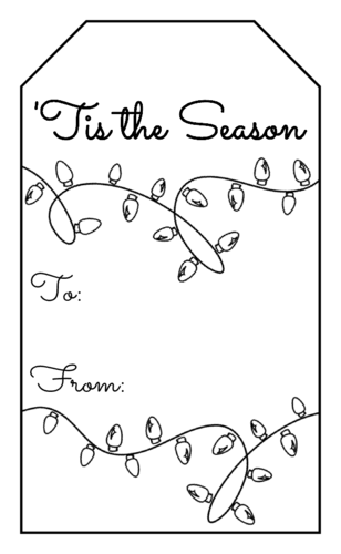 """Tis The Season"" Christmas Lights Gift Tag"