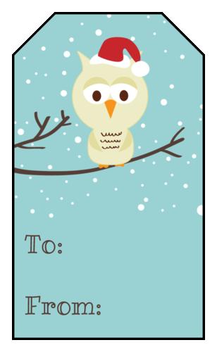 Christmas Owl Gift Tag