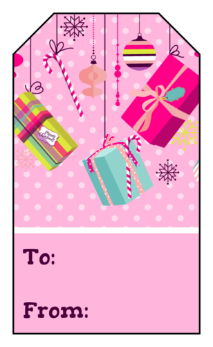 Pink Presents Christmas Gift Tag