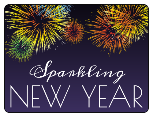 Sparkling New Year Champagne Bottle Label