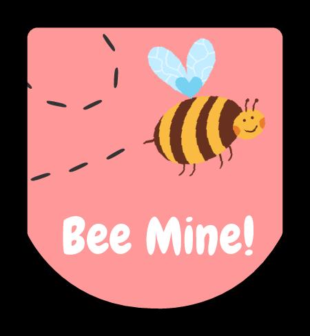 """""""Bee Mine!"""" Valentine's Day Hand Sanitizer Label"""