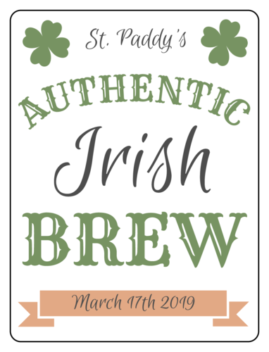 Authentic St. Paddy's Day Brew Beer Bottle Label