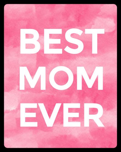 """Best Mom Ever"" Watercolor Wine Bottle Label"