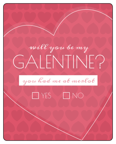 Galentine's Day Wine Bottle Label