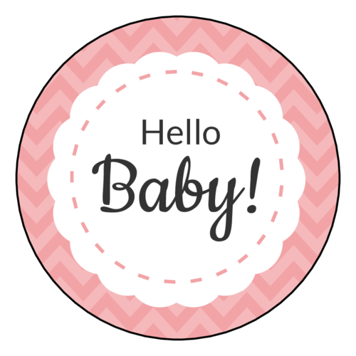 """Hello Baby"" Shower Label"