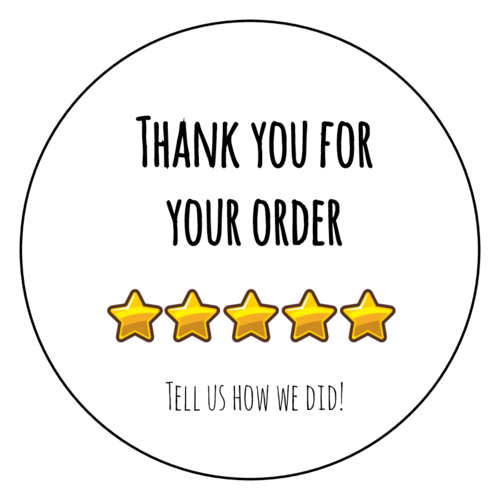 """Tell Us How We Did"" Product Feedback Label"