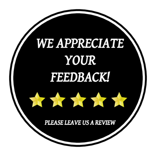 """We Appreciate Your Feedback"" Label"