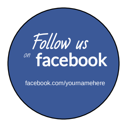 """Follow Us On Facebook"" Label"