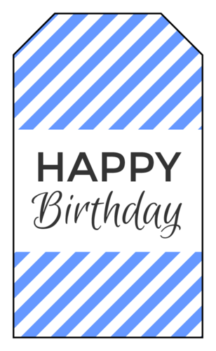 """Happy Birthday"" Striped Gift Tag"