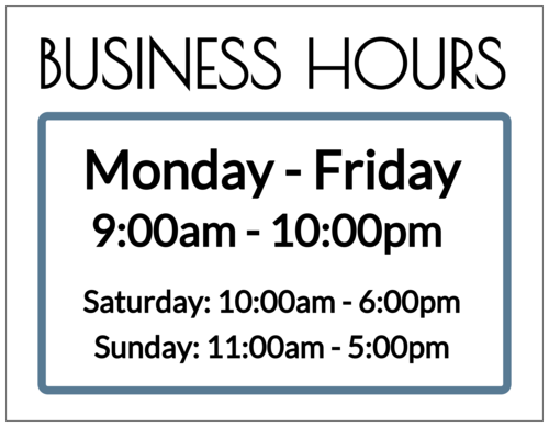 Business Hours Signage Label
