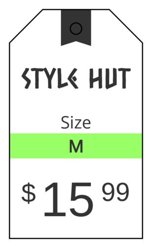 Cardstock Clothing Price Tag