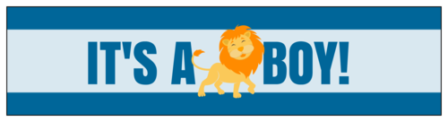 """It's a Boy!"" Lion-Themed Gender Reveal Water Bottle Label"